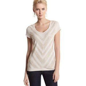 White House Black Market Embellished V Neck Shirt